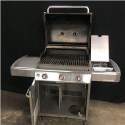 WEBER 3 BURNER BBQ WITH SIDE BURNER AND COVER, USED BUT IN GOOD CONDITION, MODEL 6521001, MISSING