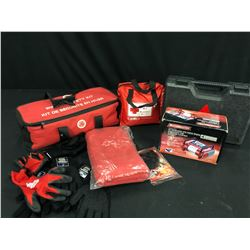 ASSORTED SAFETY SUPPLIES INC. FIRST AID KITS, GLOVES, PORTABLE AIR COMPRESSOR AND MORE