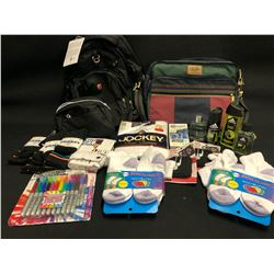 ASSORTED ITEMS INC. BACKPACK, BRIEFCASE, SOCKS, SHIRTS, COLOGNE, SHARPIES AND MORE