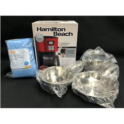 IKEA POTS AND PANS, HAMILTON BEACH COFFEE MAKER AND BAG OF MICROFIBRE CLOTHS