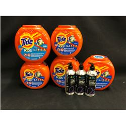 5 CONTAINERS OF TIDE PODS AND 3 BOTTLES OF SOFT SPOT FABRIC SOFTENER