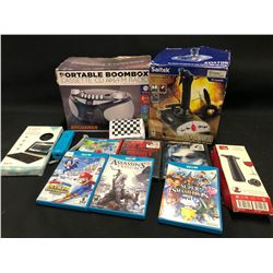 MIXED ITEMS INC. FLIGHT SIMULATOR JOY STICK, CD PLAYER, WIRELESS KEYBOARD, DVDS/GAMES AND MORE
