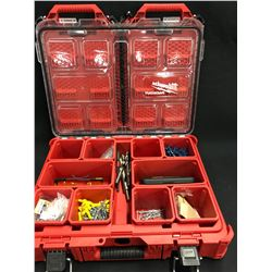 MILWAUKEE PACKOUT TOOL BOX WITH ASSORTED TOOLS AND PARTS
