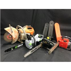 4 SAWS INC. STIHL CONCRETE SAW, EGO 56 VOLT CORDLESS CHAINSAW (NO BATTERY, ON CHARGER), YARDWORKS