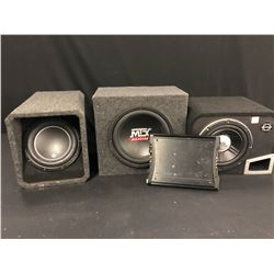 CAR AUDIO COMPONENTS INC. KICK ZX 350.4 AMPLIFIER, AND JL AUDIO, MTX, AND JBL SUBS, SUB SPECS