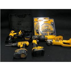 ASSORTED DEWALT TOOLSINC. SAW BLADES, CHARGERS, BATTERIES, RECIPROCATING SAW AND MORE