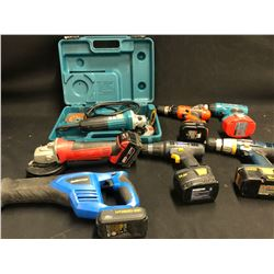 ASSORTED CORDED AND CORDLESS TOOLS INC. GRINDERS, DRILLS, RECIPROCATING SAWS AND MORE, NOT TESTED,