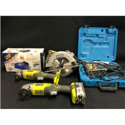 ASSORTED TOOLS INC. RYOBI CORDLESS GRINDERS, BOSCH 1584AVS JIG SAW, DRILL DOCTOR 350X AND MORE