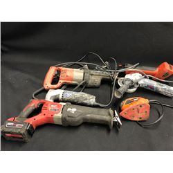 LOT OF ASSORTED CORDED AND CORDLESS POWER TOOLS INC. BOSCH, MILWAUKEE, HILTI AND MORE, NOT TESTED,