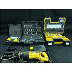 ASSORTED TOOLS AND HARDWARE INC. DEWALT RECIPROCATING SAW, MOSTLY COMPLETE SOCKET SET, PNEUMATIC