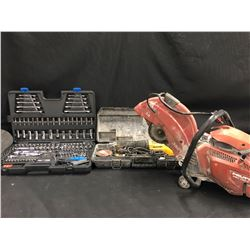 TOOLS INC. HILTI DSH 700-X GAS POWERED CONCRETE SAW, MOSTLY COMPLETE MASTERCRAFT SOCKET/WRENCH SET,