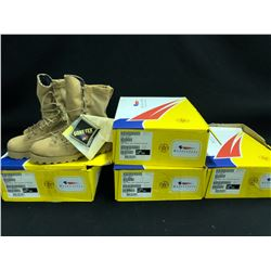 5 PAIRS OF BELLEVILLE ARMY COMBAT BOOTS, SIZE 6.5, TAN, 1 PAIR NO PACKAGING