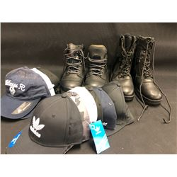 LOT OF ASSORTED HATS AND BOOTS, BOOTS ARE SIZES 13 & 11W