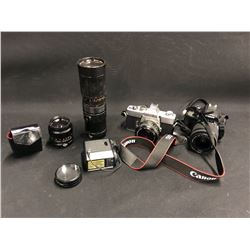 ASSORTED CAMERAS AND ACCESSORIES INC. CANON EOS REBEL SL1, MINOLTA SRT101, 2 LENSES, FLASH AND MORE