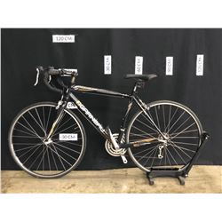 BLACK AND BROWN GARNEAU AXIS 24 SPEED ROAD BIKE, MEDIUM FRAME SIZE, STANDOVER HEIGHT: 78 CM