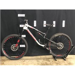 GREY AND BLACK ROCKY MOUNTAIN FULL SUSPENSION MOUNTAIN BIKE, FRONT AND REAR DERAILLEURS AND