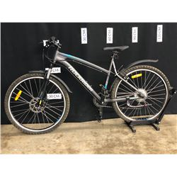 GREY AND BLUE ROCKRIDER RR5.2 24 SPEED FRONT SUSPENSION MOUNTAIN BIKE WITH FRONT AND REAR DISC