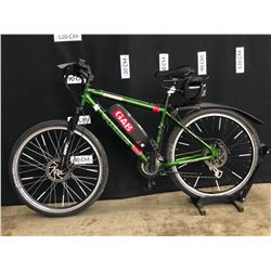GREEN COLUMBIA REVELSTOKE 24 SPEED FRONT SUSPENSION MOUNTAIN BIKE WITH FRONT AND REAR DISC BRAKES,