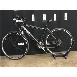 BLACK EVO RIVER SPORT 21 SPEED HYBRID TRAIL BIKE, MEDIUM FRAME SIZE, STANDOVER HEIGHT: 79 CM