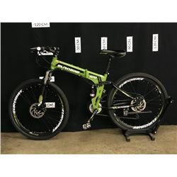 GREEN EUROBIKE G4 21 SPEED FULL SUSPENSION FOLDING MOUNTAIN BIKE WITH FRONT AND REAR DISC BRAKES,