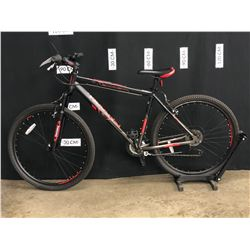 BLACK AND RED DIADORA NOVARA 21 SPEED FRONT SUSPENSION MOUNTAIN BIKE, LARGE FRAME SIZE, STANDOVER