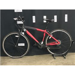RED NO NAME 21 SPEED HYBRID TRAIL BIKE, STANDOVER HEIGHT: 76 CM STANDOVER HEIGHT