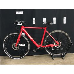RED REVON SINGLE SPEED ELECTRIC ASSIST HYBRID ROAD BIKE WITH FRONT AND REAR DISC BRAKES,
