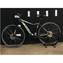 BLACK AND GREEN HYPER VIKING TRAIL FRONT SUSPENSION MOUNTAIN BIKE, FRONT SHIFTER, FRONT DERAILLEUR