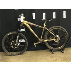 GOLD/BLACK PAINTED NO NAME FRONT SUSPENSION MOUNTAIN BIKE, 8 SPEED, FRONT DERAILLEUR AND SHIFTER