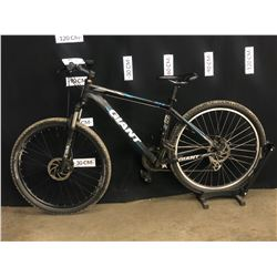 BLACK GIANT ATX 21 SPEED FRONT SUSPENSION MOUNTAIN BIKE WITH FRONT AND REAR DISC BRAKES, STANDOVER