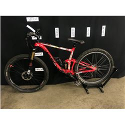 RED GIANT ANTHEM 9 SPEED FULL SUSPENSION MOUNTAIN BIKE WITH REMOTE ADJUSTABLE SEAT POST HEIGHT AND