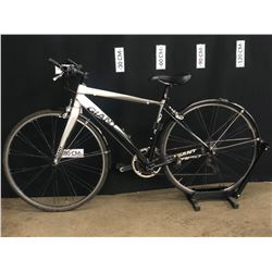 GREY AND WHITE GIANT RAPID 18 HYBRID ROAD BIKE, STANDOVER HEIGHT: 75 CM