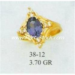 14K GOLD & LAB CREATED BLUE SAPPHIRE & CZ RING, 3