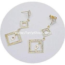 14K GOLD DIAMOND CUT & SHAPED DANGLE EARRINGS 2 I
