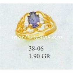 14K GOLD & LAB CREATED BLUE SAPPHIRE & CZ RING, 1