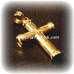 PURE 14K GOLD CROSS PENDANT 1.25 INCH TALL 1.2g