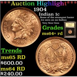 ***Auction Highlight*** 1904 Indian Cent 1c Graded Choice+ Unc RD By USCG (fc)