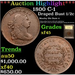 ***Auction Highlight*** 1800 C-1 Draped Bust Half Cent 1/2c Graded xf+ By USCG (fc)