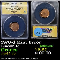 ANACS 1970-d Mint Error Lincoln Cent 1c Graded ms62 rb By ANACS
