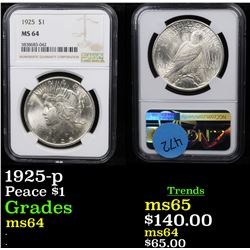 NGC 1925-p Peace Dollar $1 Graded ms64 By NGC