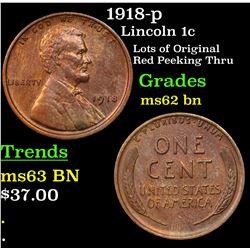 1918-p Lincoln Cent 1c Grades Select Unc BN