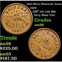 1863 Oliver Boutwell, brass Civil War Token 1c Grades Choice AU/BU Slider