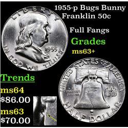 1955-p Bugs Bunny Franklin Half Dollar 50c Grades Select+ Unc