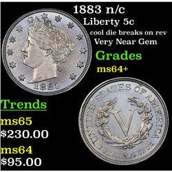 1883 n/c Liberty Nickel 5c Grades Choice+ Unc