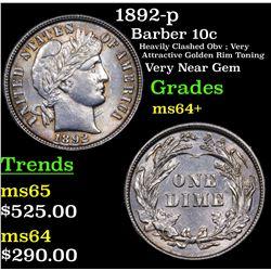 1892-p Barber Dime 10c Grades Choice+ Unc
