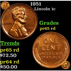 Proof 1951 Lincoln Cent 1c Grades Gem Proof Red
