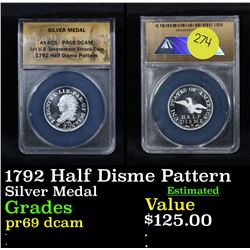 ANACS 1792 Half Disme Pattern Silver Metal Graded pr69 dcam By ANACS