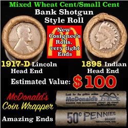 Mixed small cents 1c orig shotgun roll, 1917-d Wheat Cent, 1895 Indian Cent other end, McDonalds Wra