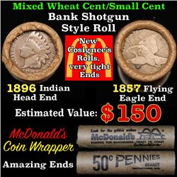 Mixed small cents 1c orig shotgun roll, 1857 Flying Eagle Cent, 1896 Indian Cent other end, McDonald