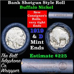 Buffalo Nickel Shotgun Roll in Old Bank Style 'Bell Telephone'  Wrapper 1919 & P/D Mint Ends